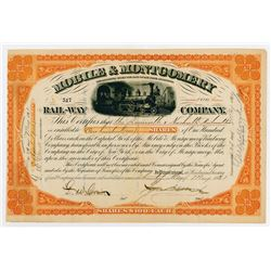 Mobile & Montgomery Rail-Way Co., 1881 I/C Stock Certificate
