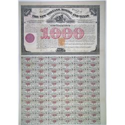 New Orleans, Mobile and Texas Rail Road Co., 1872 I/U Bond with Imprinted Revenue