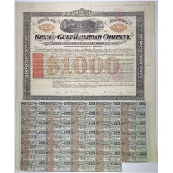 Selma and Gulf Railroad Co., 1870 I/U Bond with RN-W2 revenue on front, two RN-P5s on back