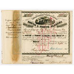 South & North Alabama Railroad Co., 1880 I/C Stock Certificate
