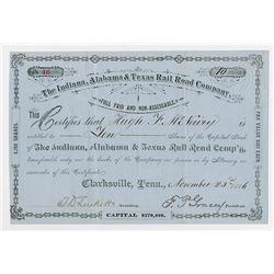 Indiana Alabama & Texas Rail Road Co. 1886. I/U Stock Certificate.