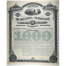 Fernandina & Jacksonville Railroad Co. 1880. I/U Bond Low Serial #11.