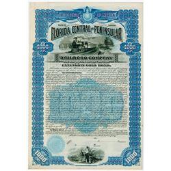 Florida Central & Peninsular Railroad Co. 1890. Specimen Bond.