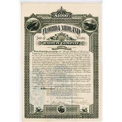 Florida Midland Railway Co. 1886. I/U Bond.
