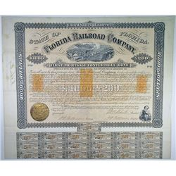 Florida Railroad Co. 1869. I/U Bond Rarity with imprinted revenues.