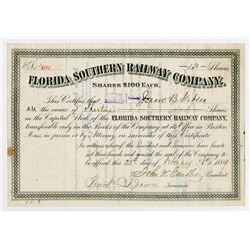 Florida Southern Railway Co. 1889. I/U Stock Certificate..