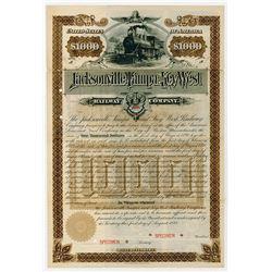 Jacksonville, Tampa and Key West Railway Co., 1888 Specimen Bond