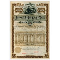 Jacksonville, Tampa and Key West Railway Co., 1888 Specimen Bond