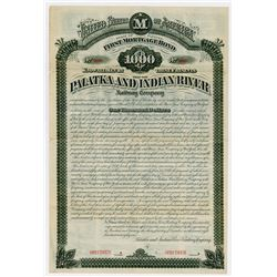 Palatka & Indian River Railway Co. 1881. Specimen Bond.