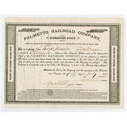 Palmetto Railroad Co., 1885 I/U Stock Certificate