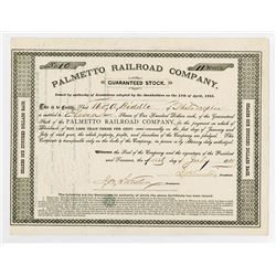 Palmetto Railroad Co., 1885 I/U Stock Certificate