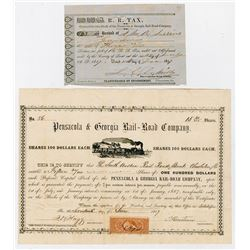 Pensacola & Georgia Rail-Road Co., 1867 I/U Stock Certificate