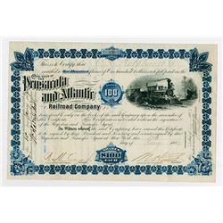 Pensacola and Atlantic Railroad Co., 1887 I/U Stock Certificate
