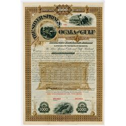 Silver Springs, Ocala and Gulf Railroad Co., 1888 Specimen Bond