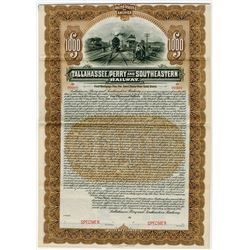Tallahassee, Perry and Southeastern Railway, 1906 Specimen Bond