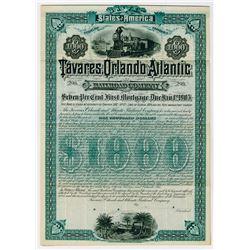Tavares, Orlando and Atlantic Railroad Co., 1885 Specimen Bond