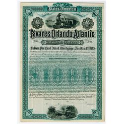Tavares, Orlando and Atlantic Railroad Co., 1885 Specimen Bond