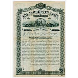 The Florida Transit Railroad Co. 1881. Specimen Bond.