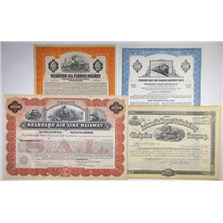 Southern States Specimen and Issued Railroad Stock and Bond Quartet, ca.1880-1969