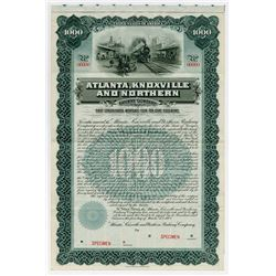 Atlanta Knoxville & Northern Railway Co. 1902. Specimen Bond.
