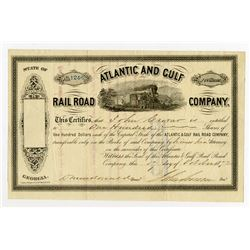 Atlantic and Gulf Rail Road Co., 1872 I/U Stock Certificate