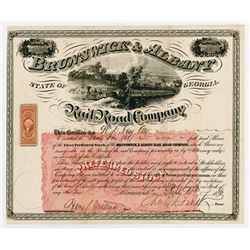 Brunswick & Albany Rail Road Co. 18--. I/U Stock Certificate, Reinforced tears