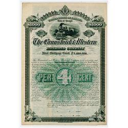 Brunswick & Western Railroad Co. 1887. Specimen Bond.