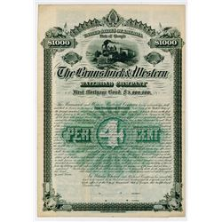 Brunswick & Western Railroad Co. 1887. Specimen Bond.