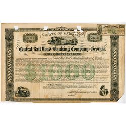 Central Rail Road & Banking Co of Georgia. 1865. Issued Bond.