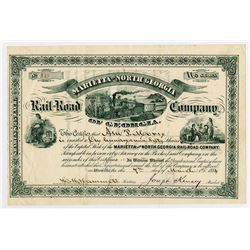 Marietta & North Georgia Rail-Road Co of Georgia. 1884 I/U Stock Certificate