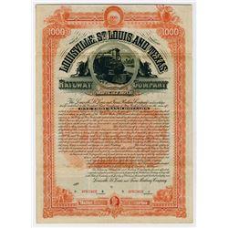 Louisville St Louis & Texas Railway Co. 1887. Specimen  Bond.