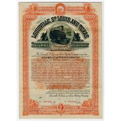 Louisville St Louis & Texas Railway Co. 1887. Specimen  Bond.