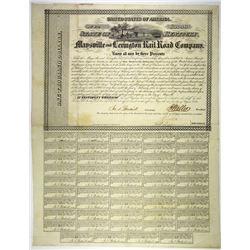 Maysville & Lexington Rail Road Co. 1853. I/U Bond.