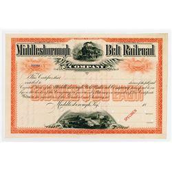 Middlesborough Belt Railroad Co. 1880-90's Specimen Stock Certificate.