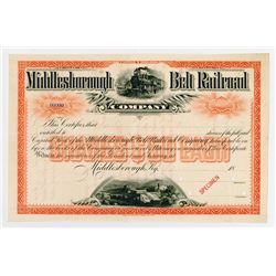 Middlesborough Belt Railroad Co. 1880-90's Specimen Stock Certificate.