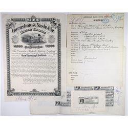 Owensboro & Nashville Railway Co. 1881. Proof Bond Production assortment.