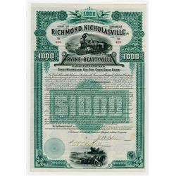 Richmond Nicholasville Irvine & Beattyville Railroad Co. 1889. I/U Bond.