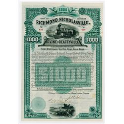 Richmond Nicholasville Irvine & Beattyville Railroad Co. 1889. I/U Bond.