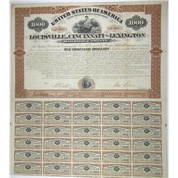 Louisville, Cincinnati & Lexington Railroad (Rail Road) Co. 1873, I/U Bond Signed by John Echols Civ