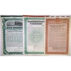 Southern State Issued and Specimen Railroad Bond Trio, ca.1904-1925