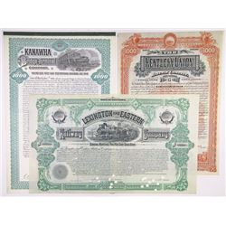 Southern State Issued and Specimen Railroad Bond Trio, 1888-1908