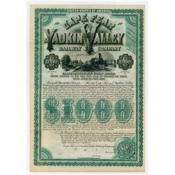 Cape Fear & Yadkin Valley Railway Co. 1886. Specimen Bond.
