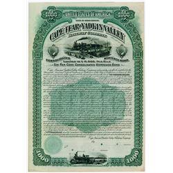 Cape Fear & Yadkin Valley Railway Co. 1889. Specimen Bond.