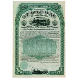 Cape Fear & Yadkin Valley Railway Co. 1889. Specimen Bond.