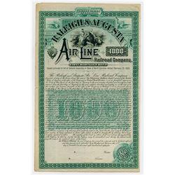 Raleigh & Augusta Air-Line Railroad Co. 1885. Specimen Bond.