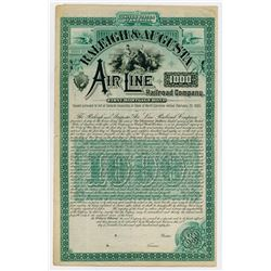 Raleigh & Augusta Air-Line Railroad Co. 1885. Specimen Bond.