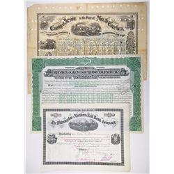 North Carolina Railroad Certificate I/C Trio, 1871-1937
