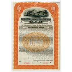 Charleston & Western Carolina Railway Co. 1914. Specimen Bond.