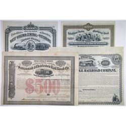 Southern States I/U & I/C Railroad Bond Quartet, ca.1869-1882