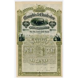 Memphis & Charleston Rail Road (Railroad) Co. 1884. Specimen Bond.